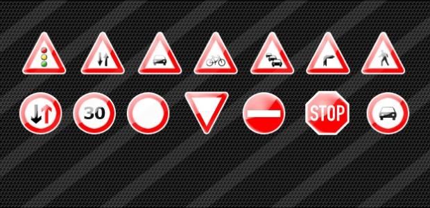 15 Verkehrszeichen Icons in 64×64 pixel als .png  + 1133 mal runtergeladen.