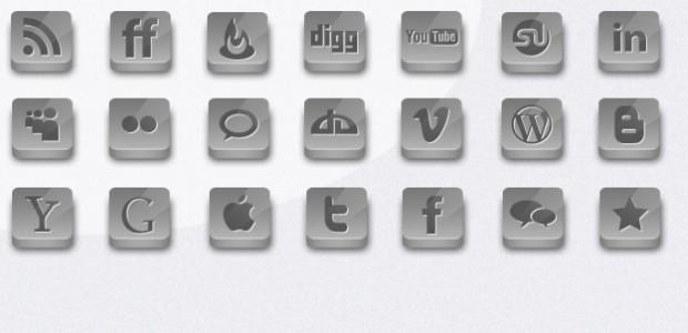 21 Silber Social Icons als.png zum kostenlosen Download. Die Icons sind mit einem Schlagschatten hinterlegt.  + 819 mal runtergeladen.